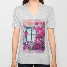 Flower window Unisex V-Neck