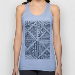 Simply Tribal Tile in Indigo Blue on Lunar Gray Unisex Tank Top