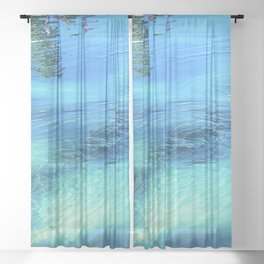 Lake Reflections: Whirlpool in Aqua and Cerulean Blue Sheer Curtain