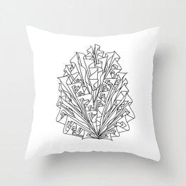 flame line art - white Throw Pillow