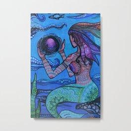 Magic Under the Sea: Mermaid Mandala Metal Print