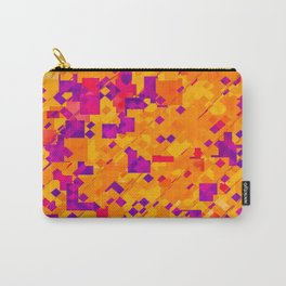 geometric square pixel pattern abstract background in orange purple blue Carry-All Pouch