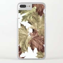 Faded Autumn Leaves Clear iPhone Case