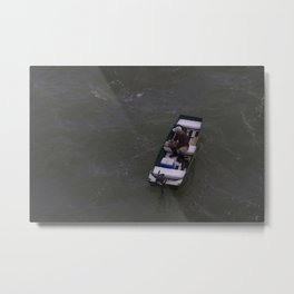 Fisherman Fishing on His Boat in Key Biscayne Miami Metal Print
