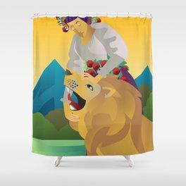 strength tarot card Shower Curtain
