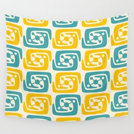 Mid Century Modern Galaxy Pattern 131 Yellow and Turquoise Wall Tapestry