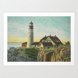Portland Head Light at Sunrise Art Print