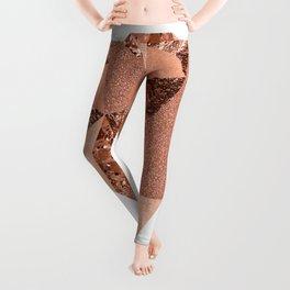 Rose gold geometric heart - glitter & foil Leggings