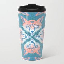 Pastel Fox Pattern Metal Travel Mug