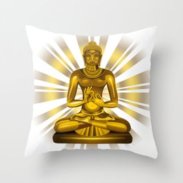 Buddha Siddhartha Gautama Golden Statue Throw Pillow