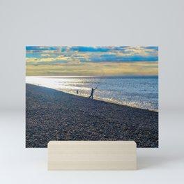 Evening Fishing at Sheringham Beach, U.K Mini Art Print