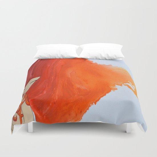 Tattooed Beauty (Red/Orange) - Hair Series Duvet Cover