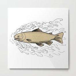 Brown Trout Waves Tattoo Metal Print