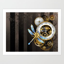 Dials with Dragonfly ( Steampunk ) Art Print