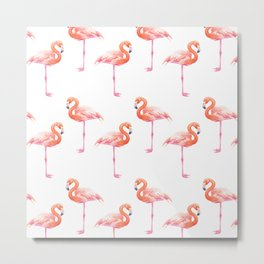 Flamingos watercolor pattern Metal Print