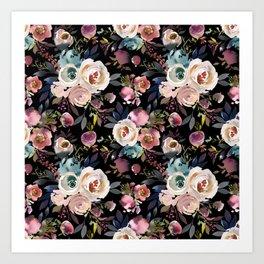 Blush pink teal lilac ivory watercolor modern roses Art Print