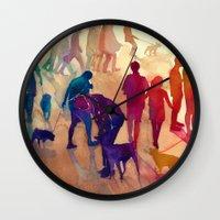 best friends Wall Clocks featuring Best friends by takmaj