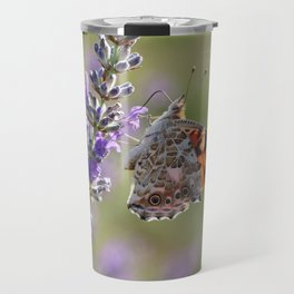 Painted Lady Buttefly On Lavender Travel Mug