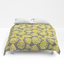Leaves in Yellow and Grey Pattern Comforters