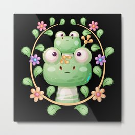Animal family cute frogs with flowers Metal Print