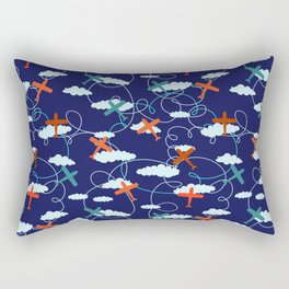 The Mary Collection - fly the plane in navy blue Rectangular Pillow