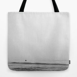 Surfers - Black and White Ocean Photography Huntington Beach California Tote Bag