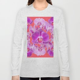 Pink & Purple Orchids Coral Colored Art Patterns Long Sleeve T-shirt