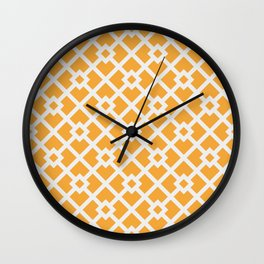 Golden & White Abstract Square Pattern Wall Clock