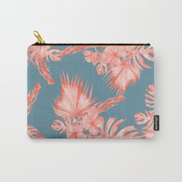 Dreaming of Hawaii Pale Coral on Teal Blue Carry-All Pouch