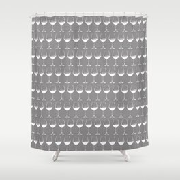 Wine Glasses on Grey Shower Curtain