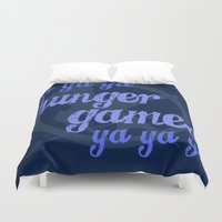 lorde Duvet Covers featuring Ya Ya Ya Hunger Ya Ya Ya Games - Blue by Hrern1313