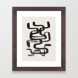 Mid Century Modern Minimalist Abstract Art Brush Strokes Black & White Ink Art Pipe Maze Framed Art Print