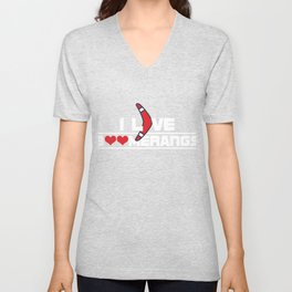 I Love Boomerangs Sports Wind Game Competitive Sports Athletic Gifts Unisex V-Neck