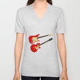 Red Elecric Guitars Unisex V-Neck