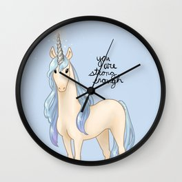 """""""You Are Strong Enough"""" Unicorn Wall Clock"""
