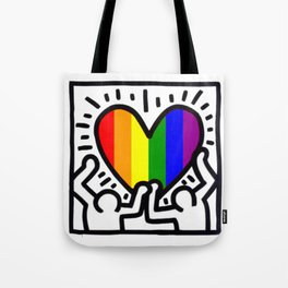 Pride heart, tribute to Keith Haring. Great LGBT gift. Tote Bag