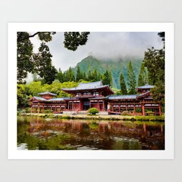 Buddhist temple watercolor painting  Art Print