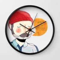 nan lawson Wall Clocks featuring I Wonder If It Remembers Me by Nan Lawson