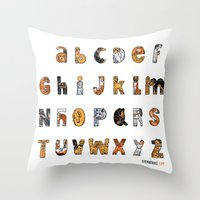 font Throw Pillows featuring Perruna Font / Dog font by oyemathias