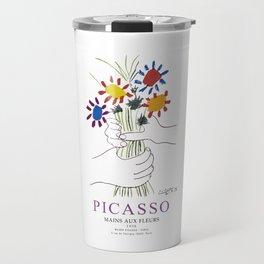 Picasso Exhibition - Mains Aus Fleurs (Hands with Flowers) 1958 Artwork Travel Mug
