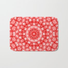 Kaleidoscope Fuzzy Red and White Circular Pattern Bath Mat
