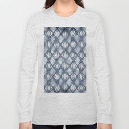 Braided Diamond Indigo Blue on Lunar Gray Long Sleeve T-shirt