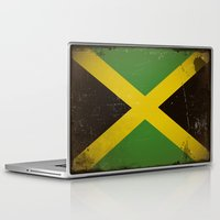 jamaica Laptop & iPad Skins featuring Vintage flag of Jamaica by TilenHrovatic