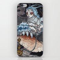 caitlin hackett iPhone & iPod Skins featuring Absolem the Blue Caterpillar art print by Caitlin Hackett