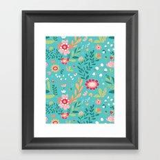 Teal Garden Hearts Framed Art Print