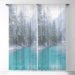 Magical river in enchanted winter forest Sheer Curtain