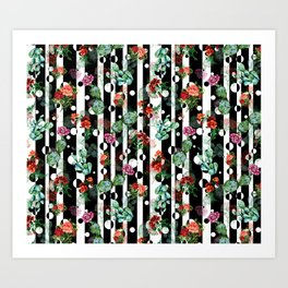 Cactus Flowers and Lines Art Print