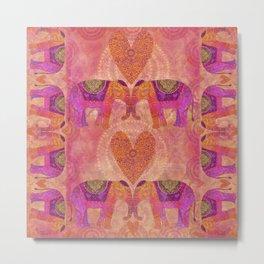 Elephants in Love Heart Art Metal Print