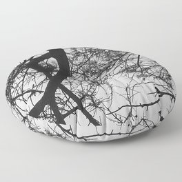 Bare Tree Branches First Flowers Floor Pillow