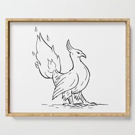 Phoenix Burning Tail Drawing Serving Tray